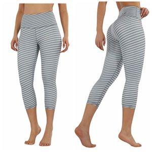 ODODOS Women's High Waisted Striped Capri Leggings